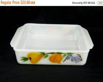 """ON SALE Vintage Fire King Gay Fad Baking Dish Casserole 8"""" Square Fruit"""