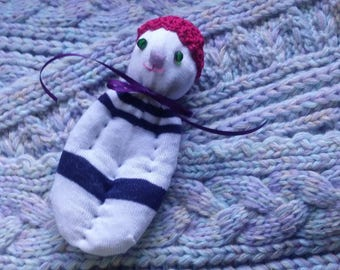 Lavender Filled Sachet Sock Doll OOAK  White and Blue w\Pink Hat Green Eyes Butterfly Nose English Lavender Lavandula 'Provence'