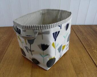 Retro Floral Print Ex Large Storage Basket Bin- oilcloth wipe clean
