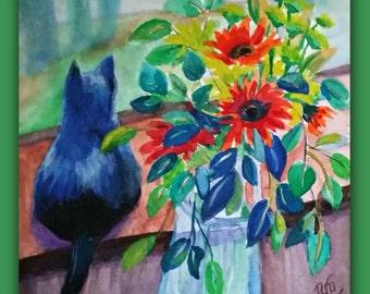 Original Watercolor, BLACK CAT & FLOWERS, cat, flowers, window, still life, vase, signed by the artist