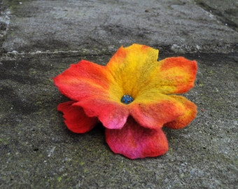 Felt flower, brooch, flower, yellow, red, brown, purple, beads
