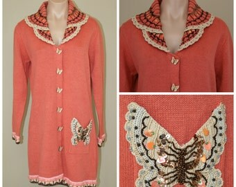 NWT Storybook Knits Coral Butterfly Embellished Long Coat Sweater Cardigan sz S
