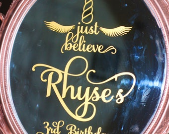 Just Believe Magical, Enchanted Unicorn Birthday Party/Baby Shower vinyl mirror decal/mirror welcome decal/ welcome sign/Baby Shower, Birthd