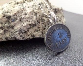 Antique Communion Token Scottish Coin Necklace, Errol Parish Church, Religious Jewelry Scotland