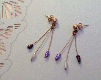 14K Gold & Fresh Water Pearl Dangle Earrings ~ Purple Blue White Pearls FREE SHIPPING