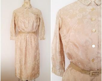 Vintage 1970s Gold Dress / Shirtwaist / Floral Print Dress / Small-Medium
