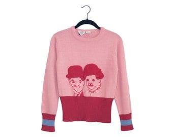 Vintage Laurel & Hardy Light Pink and Blue Acrylic Blend Women's Sweater - Medium