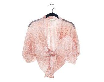 Vintage Sassy Miss Super Sheer Pink Floral Cropped Tie Blouse Overshirt
