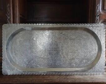 Vintage Arabian Turkish silver coloured extra large metal rectangular serving display table tray circa 1950-60's / English Shop