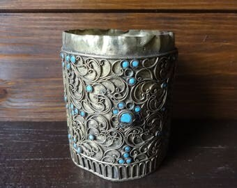 Antique Middle Eastern Brass Filigree Turquoise Glass Decor jar pot container kitchen storage circa 1900's / English Shop