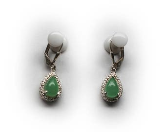 Sterling Silver Jade Tear Drop Lever-back Earrings