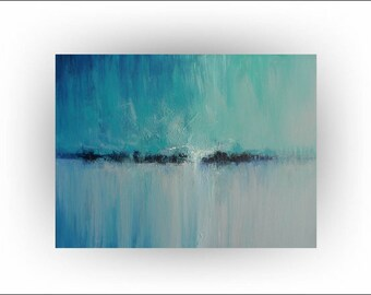 """Abstract Teal, Blue  Original Painting,Palette Knife Minimalist Wall Decor Home Decor Office """"Quietude"""" - 40 x 30 -  by Skye Taylor"""