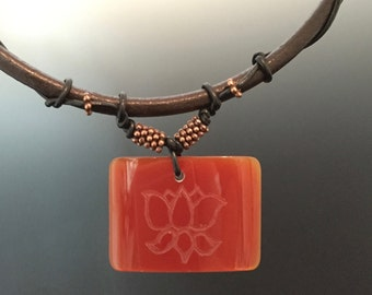 Carved Carnelian Lotus on Leather Necklace Handmade