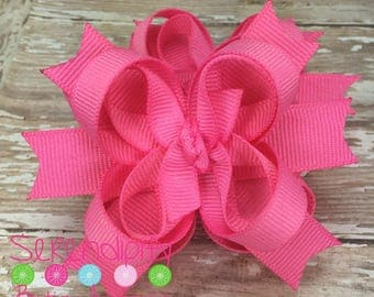 Hot Pink Mini Boutique Girls Hair Bows Set of Two