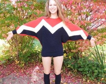 Incredible Vintage 80's Mod Bat Wing Sweater