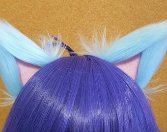 Light Blue and Light Pink Clip on Cat Ears