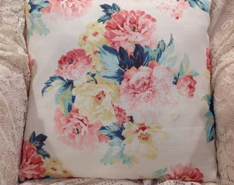 Shabby Pillow  cover cabbage roses and peonies lovely summer decor
