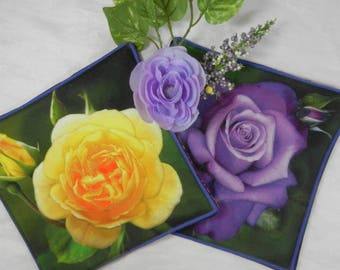 Quilted Trivets (2) - Bright Roses - Purple and Yellow - Set #1