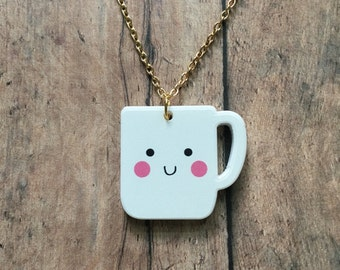 Happy mug necklace