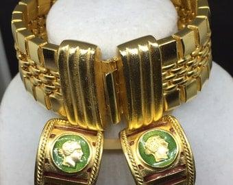 VTG Roxanne Assoulin Gold Tone Bracelet Gold Tone And Cameo-Style Enameled Clip-On Earrings