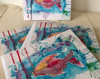 Note cards, Note Card Set, Stationary, Stationary Cards, Unique Cards, Summer Fun, Fish, Fish Watercolor