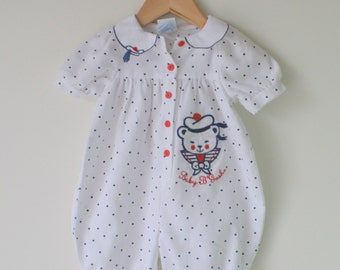 Vintage POLKA DOT Sailor Achor Nautical Romper..size 18 months 2T..girls. kids. children. nautical. mod. 1980s. summer. red white blue. bear