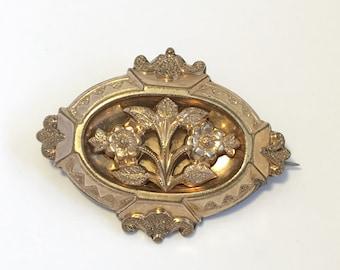 Antique Victorian Gold Filled Sentimental Forget-me-not Flower Brooch