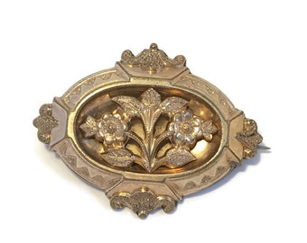 Antique Victorian Gold Filled Sentimental Forget-me-not Flower Brooch