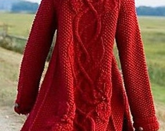 """Long Hooded Knit Coat w/Poinsettias - """"Cloaked in Mystery"""" - MADE TO ORDER"""