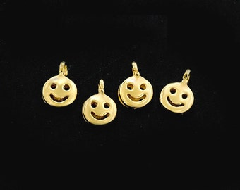 4 of 925 Sterling Silver 24k Gold Vermeil Style Little Smiley Charms 4 mm.  :vm0907
