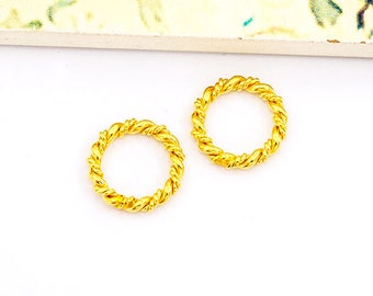 2 of 925 Sterling Silver 24k Gold Vermeil Style Twisted Circle Links, Connectors 12 mm.   :vm0914