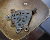 Antique metal filigree charm, earring, pendant, connector, finding, dark patina