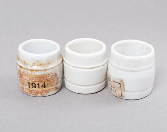 Se of 3 Antique miniature white porcelain bottles, jar, pot