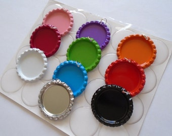 50 Color Flattened Bottle Caps with Split Rings And Premium Epoxy Stickers Kit, Color Flattened Bottle Cap Pendants Kit