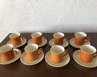 Vintage Crown Lynn Forma 1950s New Zealand Ironstone Cups and Saucers / Set of Eight | FL