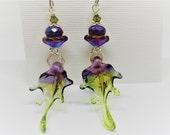Fairy Tale Earrings, Fairy Wing Earrings, Fairy Earrings, Whimsical Fairy Wings, Fairy Jewelry, Glass Fairy Wings