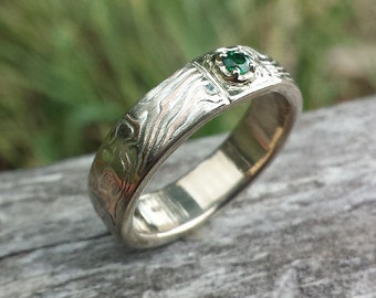 unique mens band with stone wedding band wood grain ring with emerald, diamond, moissanite your choice