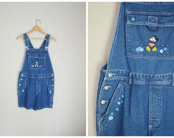 vintage 90s embroidered Mickey Mouse Denim Jean Shortalls -- womens small