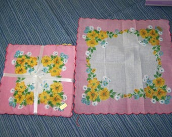 Vintage style Floral handkerchiefs; 12 pack, in 3 colors; More floral hankies! pink, blue, yellow