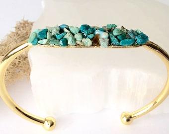 Raw Chrysolla Bracelet / Bridesmaid Gift / Rustic Wedding/ Boho Bride /Bridesmaid Favor / Raw Stone Bracelet Wedding Jewelry