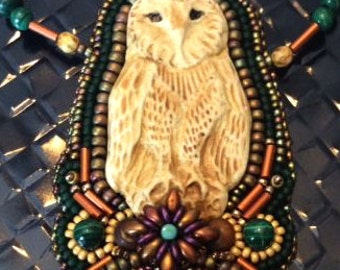 Owl Necklace,Porcelain Owl,Owl and Stone Necklace, Malachite, Agate,Rust and Dark Green Necklace,Bead Embroidery,Amy Johnson Designs,NX1517