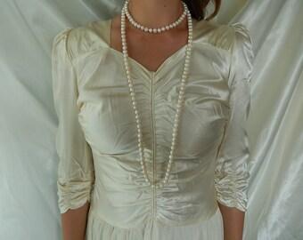 Antique Wedding Gown - Vintage Wedding Dress - 1920s Dropped Waist Wedding Dress - Ivory Satin Wedding Gown - Size 0-2 Vintage Gown