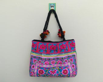 Hmong Pom Pom Bag, Hilltribe Bag, Embroidered Bag, Hmong Handbags, Tribal Tote Bag, Thai bag, Ethnic bag, Boho tote bags
