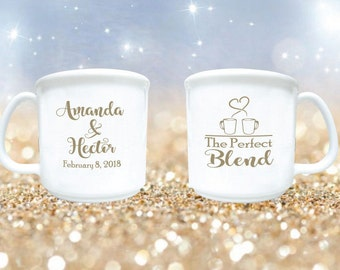 200 Wedding Favors The Perfect Blend Personalized 8oz Plastic Coffee Mugs and Cocoa Mugs Winter Wedding Cocoa Bar Favors