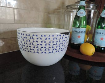 Kaj Franck Finel Arabia Finland Blue Clover Enamel Bowl Enamel Bowl Clover Blowl Collectible MCM Kitchen Enamelware FINEL Enamelware Bowl