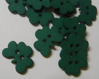10 Green Shamrock Small Buttons Size 9/16""
