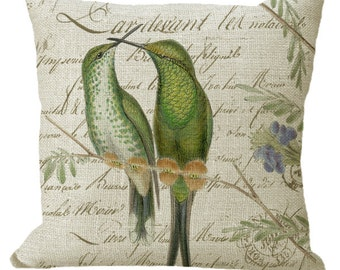 Hummingbird Pair on French Letter in Choice of 14x14 16x16 18x18 20x20 22x22 24x24 26x26 inch Pillow Cover
