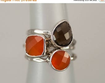 40 OFF - Size 6 Rings - Gemstone Statement Ring - Stacking Ring - Stackable Rings - Birthstone Ring-  Bezel Rings - Sterling Silver Rings