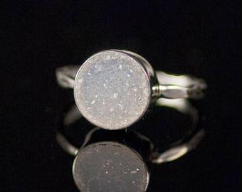 40 OFF - Round Druzy Ring Silver - April Birthstone Ring - Gemstone Ring - Stacking Ring - Silver Ring - Round Ring