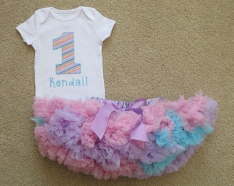 1st Birthday Girl Outfit - Pink Lavender Blue Pastel Stripe Bodysuit - Baby Pettiskirt Tutu - Ready to Ship - Girls First Birthday Outfits